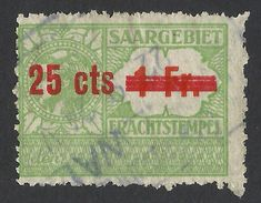 Saar, Germany, Revenue 25 C. On 1 F., Used - Other