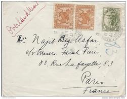 """Irak N°49 + 52 En Paire Oblit Bagdad ( 1927 ) Sur Lettre Pour Paris Avec Mention Manuscrite Rouge '' Overland Mail """" - Iraq"""