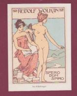 291217 VIEUX PAPIERS - EX LIBRIS Art Nouveau RUDOLF WOLKAN Historien Littéraire Autrichien SPERO DUM SPIRO Romaine HB - Ex-libris