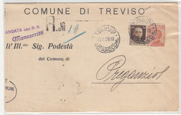 Italy, Comune Di Treviso Official Document Registered Travelled 1929 B171212 - Marcofilía