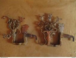 Ancien Décor De Charrette Sicilienne En Fer Forgé Peint Art Populaire XVIII ème - Ironwork