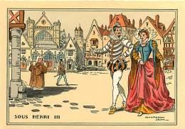 291217 - CPA LITHO POCHOIR ROYAUTE Illustrateur CHAPERON JEAN - SOUS HENRI III L'église St Germain L'Auxerrois Au XVIe S - Chaperon, Jean
