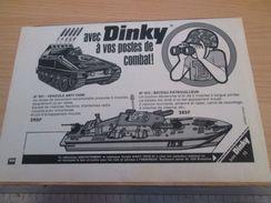 DINKY TOYS : LANCE ROQUETTE ET BATEAU PATROUILLEUR  Pour  Collectionneurs .. PUBLICITE  ; Format : 1/2 PAGE A4 - Tanks