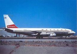 Aviation Postcard-135 WESTERN AIRLINES Boeing 720 - 1946-....: Moderne
