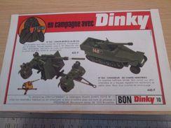 DINKY TOYS : HANOMAG ET CANON DE 88 MM  Pour  Collectionneurs .. PUBLICITE  ; Format : 1/2 PAGE A4 - Tanks