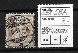 1882-1889 ZIFFERMUSTER FASERPAPIER FORM A → SBK-58A  ►ZOFINGEN◄ - Oblitérés