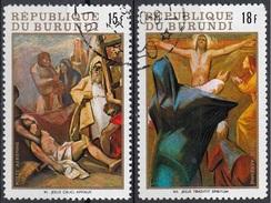 "Burundi 1970 Sc. C122-23 ""Stazioni Della Via Crucisi""  Quadro Dipinto J. Araneda De Carredano Paintings CTO Pasqua - Quadri"