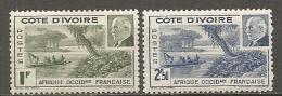COTE IVOIRE - Yv.  N°  169,170  *  Pétain  Cote 1,6 Euros BE 2 Scans - Ivory Coast (1892-1944)