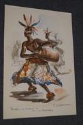 Afrique,superbe Gravure Originale Signé P.Daxehlet,Batteur De Tambour,Roi Des Bakubas,20 Cm. Sur 13,5 Cm. - African Art