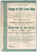 Obligation Ancienne - Société De Fonçage De Puits Franco-Belge - Titre De 1930 - Mineral