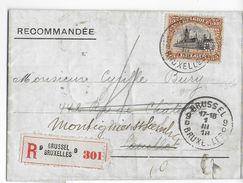 """BELGIQUE - 1919 - PERFORE (PERFIN) """"PB"""" Sur LETTRE RECOMMANDEE De BRUXELLES => COUILLET => MONTIGNIES SUR SAMBRE - Perfins"""