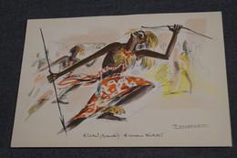 Afrique,superbe Gravure Originale Signé P.Daxehlet,Kigali,Rwanda,Danseur Watutsi,20 Cm. Sur 13,5 Cm. - African Art