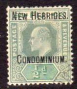 New Hebrides 1908 EVII Overprints On Fiji ½d Green & Pale Green Value, Wmk. Mult. Crown CA, Used, SG 1 - English Legend