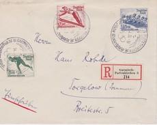 ALLEMAGNE 1936 LETTRE RECOMMANDEE DE GARMISCH-PARTENKIRCHEN AVEC CACHET ARRIVEE ET CACHET PROVISOI JO HIVER - Germania