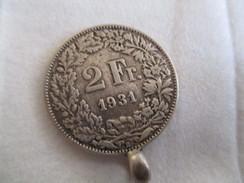 Suisse: 2 Francs 1931 Monté En Pendantif - Suiza