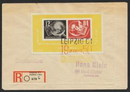 """Block 7, """"Debria"""", R-Brief Der Ausstellung Mit 3 Farbigen Sst , Rücks. Ankunft, Brief Büge Nicht Durch Block - DDR"""