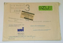 """ZU2, EF Auf Bedarfsbrief """"Dresden"""", 1966, Heller Aufkleber """"Aushändigung Als Gewöhnliche Postsendung"""" - Dienstpost"""