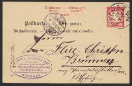 """P 23/20, Seltene Variante Mit Waag. Zickzacklinie, Bedarf """"München"""" In Die Schweiz, 1888, O - Bayern"""