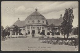 """Pp15 C144/52b, """"München 1908"""", Mittelbau Haupt-Restaurant, Mit Pass. Sst Bedarfsgelaufen, O - Bayern"""