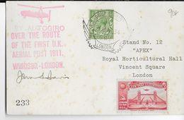 1934 - GB - EXPOSITION POSTE AERIENNE - VOL AUTOGIRE (HELICOPTERE) - CARTE PUBLICITAIRE De LONDON - 1902-1951 (Rois)