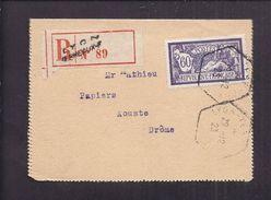 PLI ENVELOPPE PROTÊT D' HUISSIER  Tàd 1923 LYON TERREAUX RECOMMANDE Timbre 60f - Fiscaux