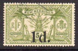 New Hebrides 1920-1 1d On 5d Surcharge, Wmk. Mult. Crown CA, Used, SG 30 - English Legend