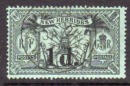 New Hebrides 1920-1 1d On 1/- Surcharge, Wmk. Mult. Crown CA, Used, SG 31 - English Legend