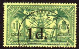 New Hebrides 1920-1 1d On 5/- Surcharge, Wmk. Mult. Crown CA, Used, SG 33 - English Legend