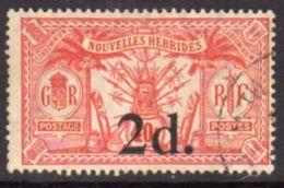New Hebrides 1920-1 2d On 40c (SG F16) Surcharge, Wmk. Mult. Crown CA, Used, SG 34 - English Legend
