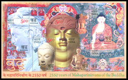 INDIA STAMPS, SOUVENIR SHEET OF 6, 02 MAY 2007, BUDDHA, MNH - Blocks & Sheetlets