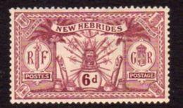New Hebrides 1921 6d Purple Value, Wmk. Mult. Script CA, Hinged Mint, SG 39 - Englische Legende