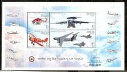 INDIA STAMPS, SOUVENIR SHEET OF 4, 14 OCT 2007, AIR FORCE, MNH - Blocs-feuillets