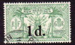New Hebrides 1924 Suva Surcharges 1d On ½d Value, Wmk. Mult. Script CA, Used, SG 40 - English Legend