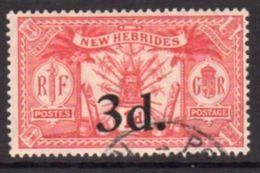New Hebrides 1924 Suva Surcharges 3d On 1d Value, Wmk. Mult. Script CA, Used, SG 41 - English Legend