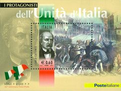 ITALIA REPUBBLICA 2011 - Protagonisti Unità D'Italia. Carlo Cattaneo.  Foglietto ** -  UNIF. N. BF62 - Blocchi & Foglietti