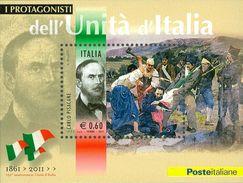 ITALIA REPUBBLICA 2011 - Protagonisti Unità D'Italia. Carlo Pisacane.  Foglietto ** -  UNIF. N. BF67 - Blocchi & Foglietti