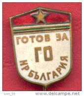 F1732 / READY FOR CIVIL DEFENCE  - Bulgaria Bulgarie Bulgarien Bulgarije - Badge Pin - Army