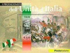 ITALIA REPUBBLICA 2011 - Protagonisti Unità D'Italia. Giuseppe Garibaldi.  Foglietto ** -  UNIF. N. BF63 - Blocchi & Foglietti