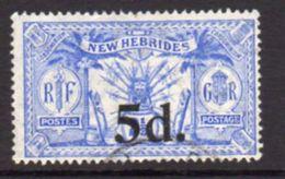 New Hebrides 1924 Suva Surcharges 5d On 2½d Value, Wmk. Mult. Script CA, Used, SG 42 - English Legend
