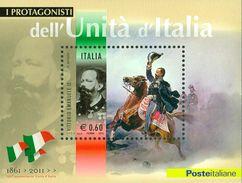 ITALIA REPUBBLICA 2011 - Protagonisti Unità D'Italia. Vittorio Emanuele II.  Foglietto ** -  UNIF. N. BF68 - Blocchi & Foglietti