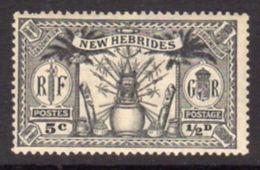 New Hebrides 1925 Dual Currency ½d/5c Value, Wmk. Mult. Script CA, Hinged Mint, SG 43 - English Legend