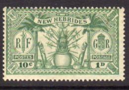 New Hebrides 1925 Dual Currency 1d/10c Value, Wmk. Mult. Script CA, Hinged Mint, SG 44 - English Legend