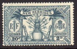 New Hebrides 1925 Dual Currency 2d/20c Value, Wmk. Mult. Script CA, Hinged Mint, SG 45 - English Legend