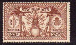 New Hebrides 1925 Dual Currency 2½d/25c Value, Wmk. Mult. Script CA, Hinged Mint, SG 46 - English Legend