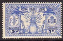 New Hebrides 1925 Dual Currency 5d/50c Value, Wmk. Mult. Script CA, Hinged Mint, SG 47 - English Legend