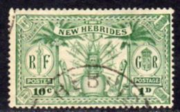 New Hebrides 1925 Dual Currency 1d/10c Value, Wmk. Mult. Script CA, Used, SG 44 - English Legend