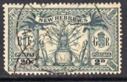 New Hebrides 1925 Dual Currency 2d/20c Value, Wmk. Mult. Script CA, Used, SG 45 - English Legend