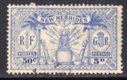New Hebrides 1925 Dual Currency 5d/50c Value, Wmk. Mult. Script CA, Used, SG 47 - English Legend