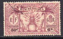 New Hebrides 1925 Dual Currency 6d/60c Value, Wmk. Mult. Script CA, Used, SG 48 - English Legend