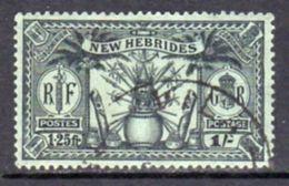 New Hebrides 1925 Dual Currency 1/-/1f.25 Value, Wmk. Mult. Script CA, Used, SG 49 - English Legend